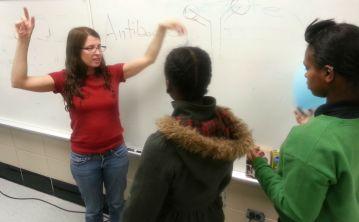 Dr. Molinero explaining antibodies.